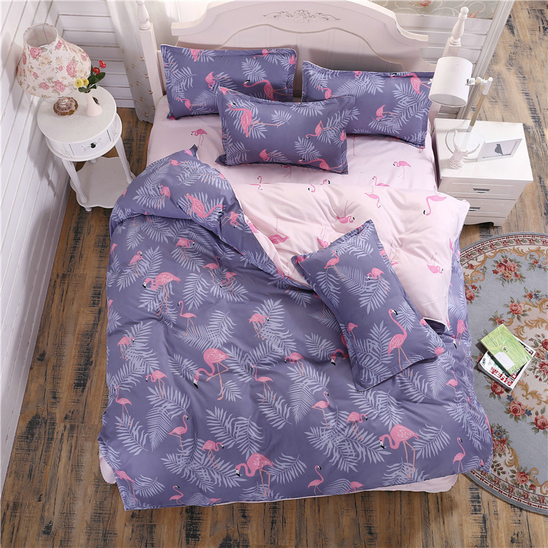 Solstice Home Textile 2018 Fashionable Comfortable Reactive Plaid Plaid Bedding Quilt Cover Pillowcase 3/4pcs