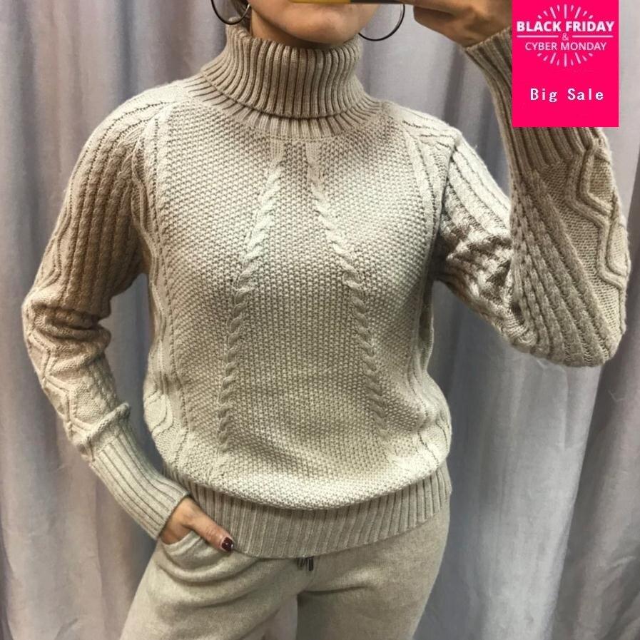 Cashmere + Lana torsione A Maglia serie di riscaldamento di alta collare Maglione di Velluto + Visone Cashmere Pantaloni Per Il Tempo Libero A due pezzi elastico abiti wq108