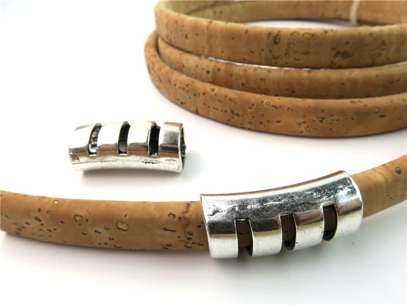 10 pcs Zamak Slider flat leather bracelet findings connectors Licorice Leather Antique Silver Components