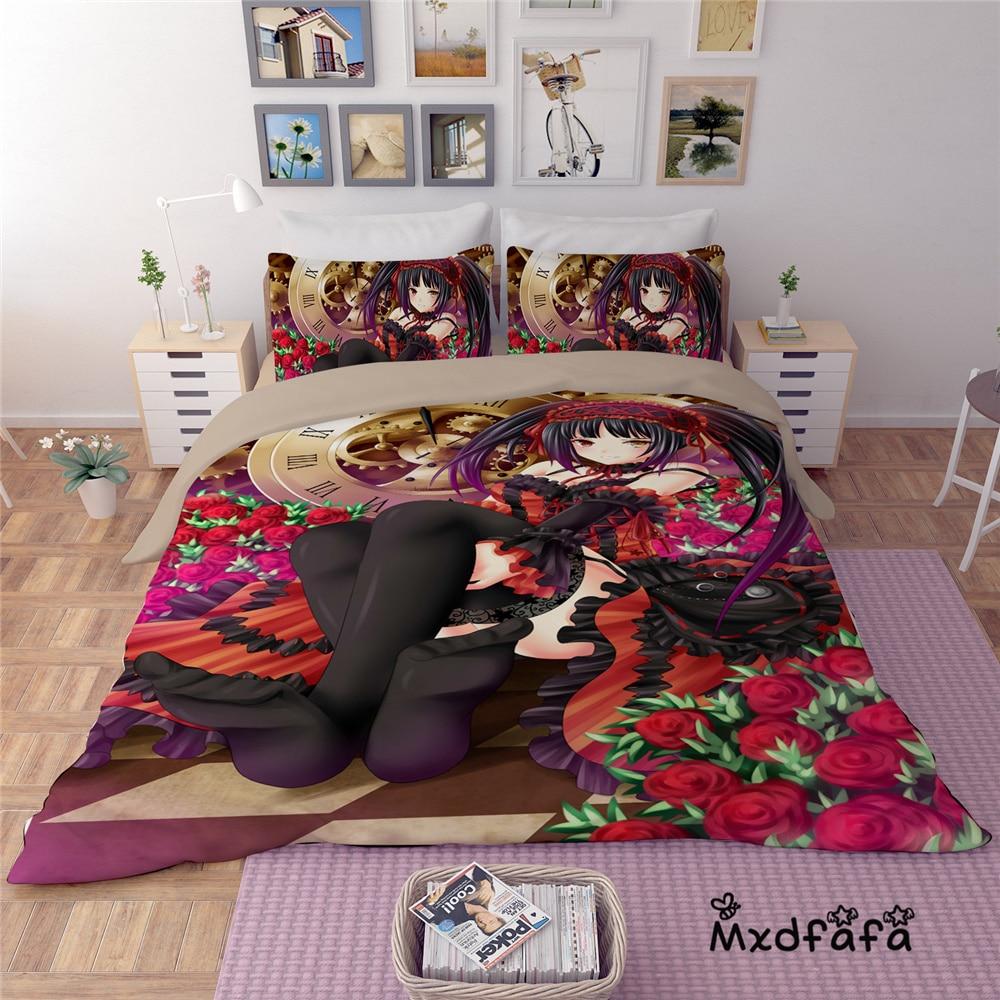 Mxdfafa Anime DATE A LIVE Duvet Cover Set bedding set Luxury Comforter Bed Sets  Include 1 Duvet Cover and 2 dakimakura caseMxdfafa Anime DATE A LIVE Duvet Cover Set bedding set Luxury Comforter Bed Sets  Include 1 Duvet Cover and 2 dakimakura case