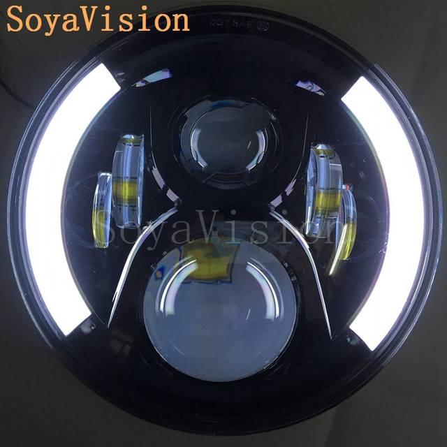 Online Shop White angel eyes <b>7inch led headlight</b> for Honda CB400 ...