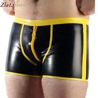 Men Sexy Latex Underwear Men's Boxer Briefs With Zipper Plus Size Black and Yellow Rubber Shorts Customize Service LPM057