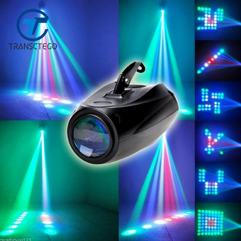 transctego luzes sonoras dj luz de discoteca led padroes da lampada laser festa palco discoteca projetor