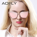 AOFLY Fashion Women Sunglasses Cat Mirror Glasses Metal Cat Eye Sunglasses Women Brand Design High Quality UV400 Shades With BOX