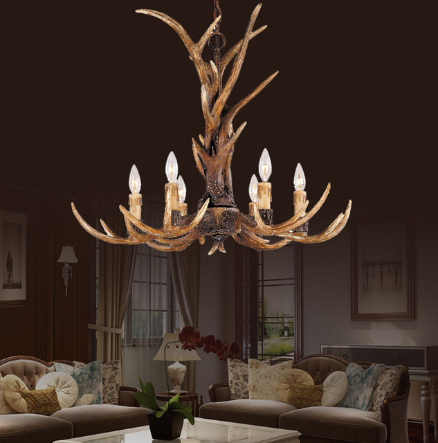 Europe Country 6 Head Candle Resin Antler Chandelier Lighting American  Retro Deer Horn Lustres Art Deco