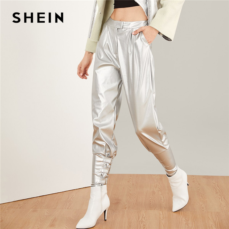 ea21d0b34d SHEIN Silver Faux Leather Cigarette Buckle Pants Rock Tapered Carrot Button  Zipper Fly Crop Trousers Women Plain Autumn Trousers