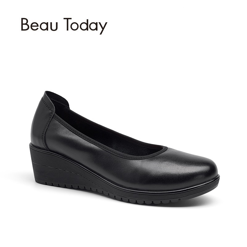 Beau Today Women Pumps Genuine Leather Shoes Nappa Cow Leather Round Toe High Heel Wedges Office Ladies Pump 15011 genuine cow leather spring shoes wedges soft outsole womens casual platform shoes high heel round toe handmade shoes for women