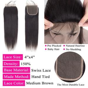Image 5 - Grote 7X7 Sluiting En 3 Bundels Remy Human Hair Weave Bundels Met Frontale Braziliaanse Steil Haar Bundels Met 7*7 Sluiting