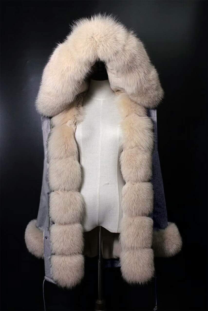 2017 winter new women's  fashion luxury fox fur collar BEIGE rex rabbit  lining coat nick garment middle long parka hoodies 2017 winter new clothes to overcome the coat of women in the long reed rabbit hair fur fur coat fox raccoon fur collar