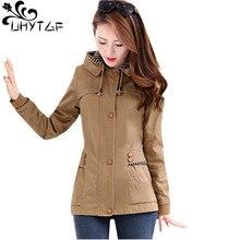 UHYTGF Women Autumn Jacket Short Coats Fashion zipper Hooded Coat Slim Casual La