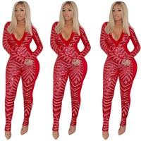 Women Deep V Neck Sparkly Sequin Jumpsuit Skinny Long Sleeve Glitter Bodycon Jumpsuits Sexy Rompers Club Party Jumpsuits