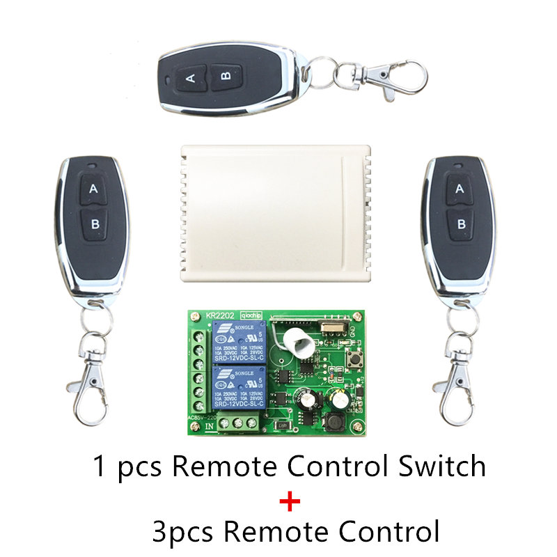 433Mhz Universal Wireless Remote Control Switch AC 250V 110V 220V 2CH Relay Receiver Module and 3pcs RF 433 Mhz Remote Controls dc24v remote control switch system1receiver