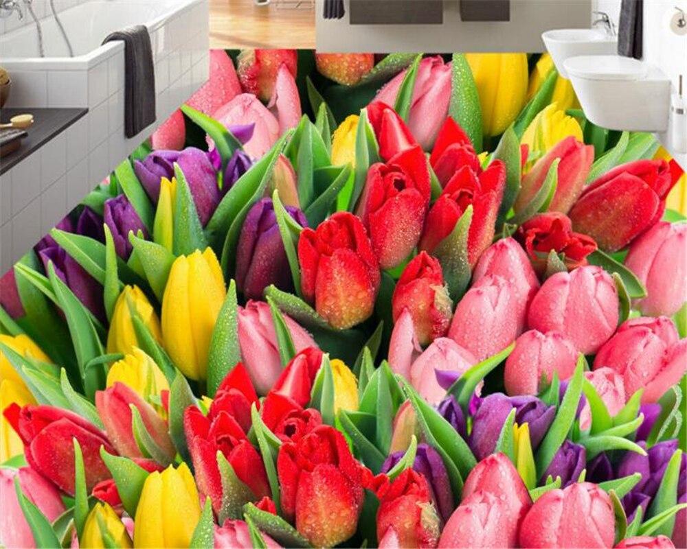 Beibehang Hd Beautiful Tulips Flowers Floor Tiles Romantic Warm