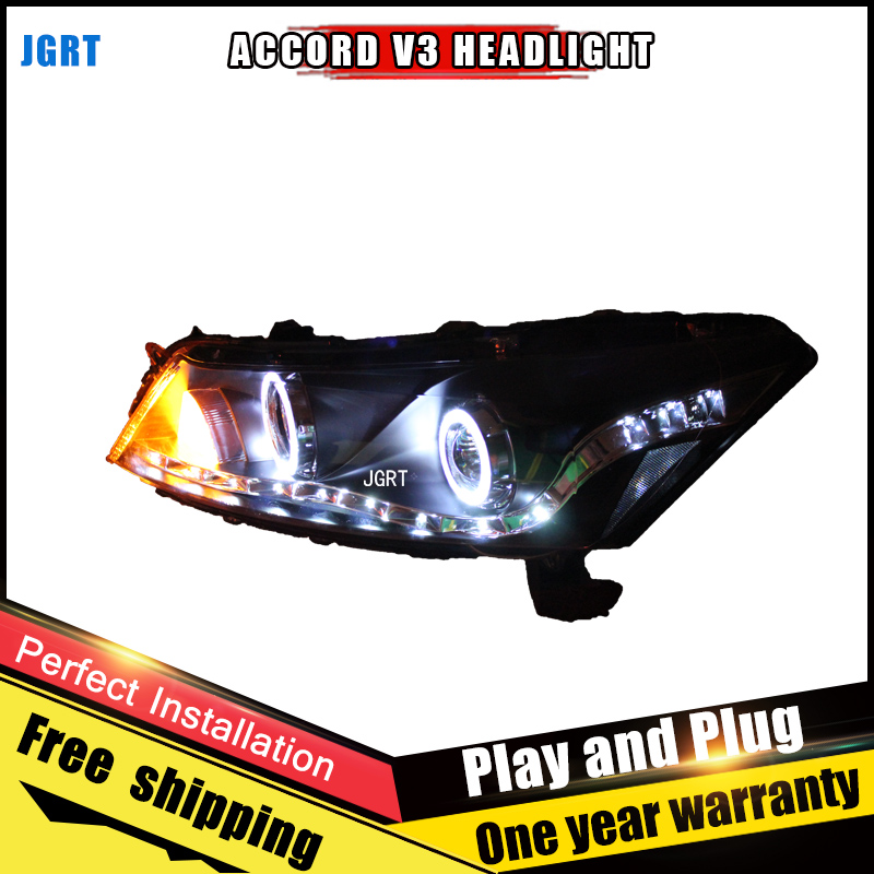 Car Style LED headlights for Honda Accord 2008-2012 for Accord head lamp LED DRL Lens Double Beam H7 HID Xenon bi xenon lens 2pcs car style led headlights for honda crv 2012 2014 for crv head lamp led drl lens double beam h7 hid xenon bi xenon lens