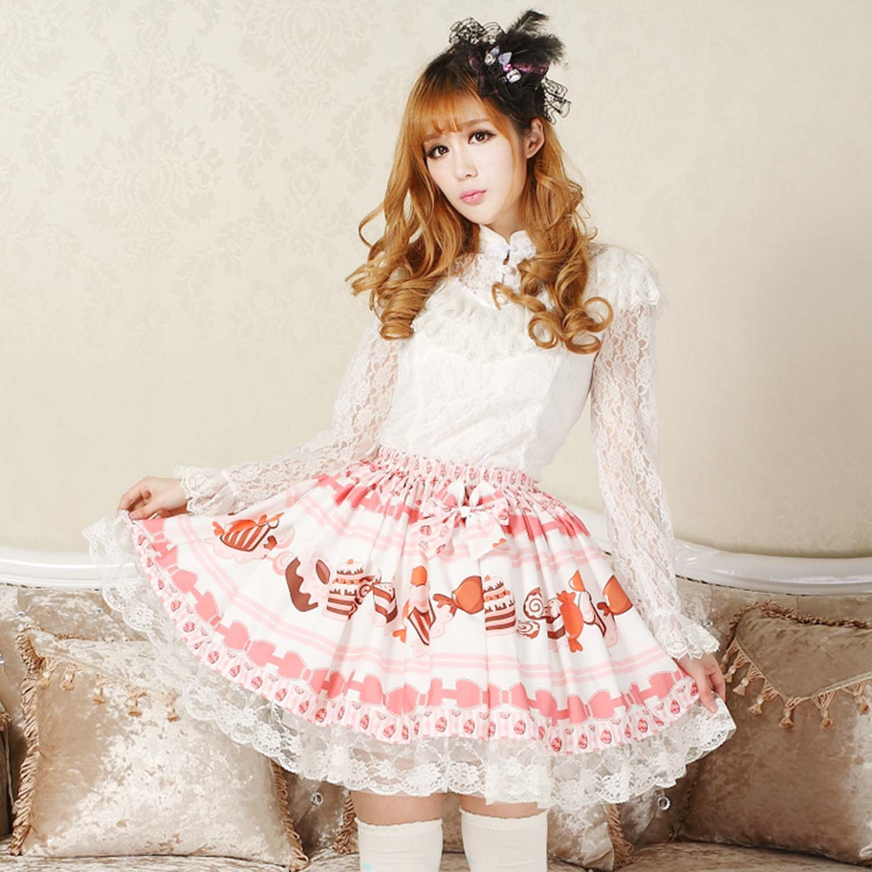 Adomoe/детская розовая юбка ярких цветов; Милая юбка в стиле Лолиты с принтом в виде торта; элегантная кружевная юбка принцессы; SK; красивые юбки для женщин