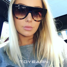TOYEARN Fashion Flat Top Oval Sunglasses Women Brand Designer Vintage Rivet Frame Sun Glasses For Female Gafas Oculos de sol