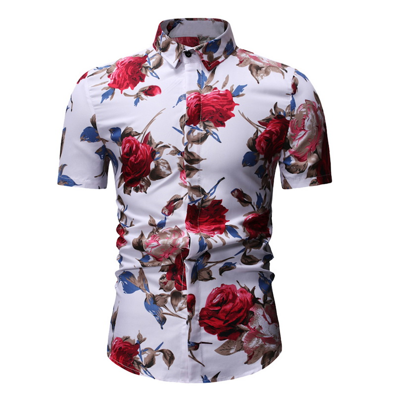 MJARTORIA 2019 Men's Slim Fit Flower Printed Shirts Male Short Sleeve Floral Shirt Men Basic Tops Casual Plus Size Shirts