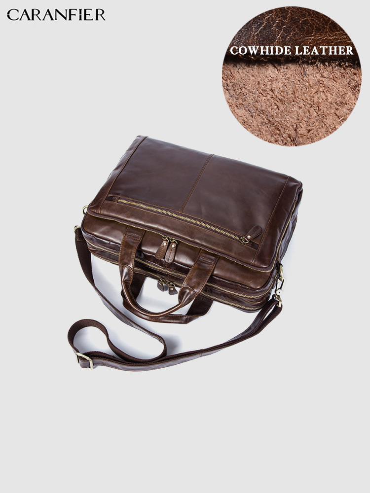 Qualität Solide Rindsleder Totes Aktentasche Oil Dokument Business Kapazität Caranfier Reise Taschen Coffee Herren Laptop Große Vintage Echtem 7wqW0X