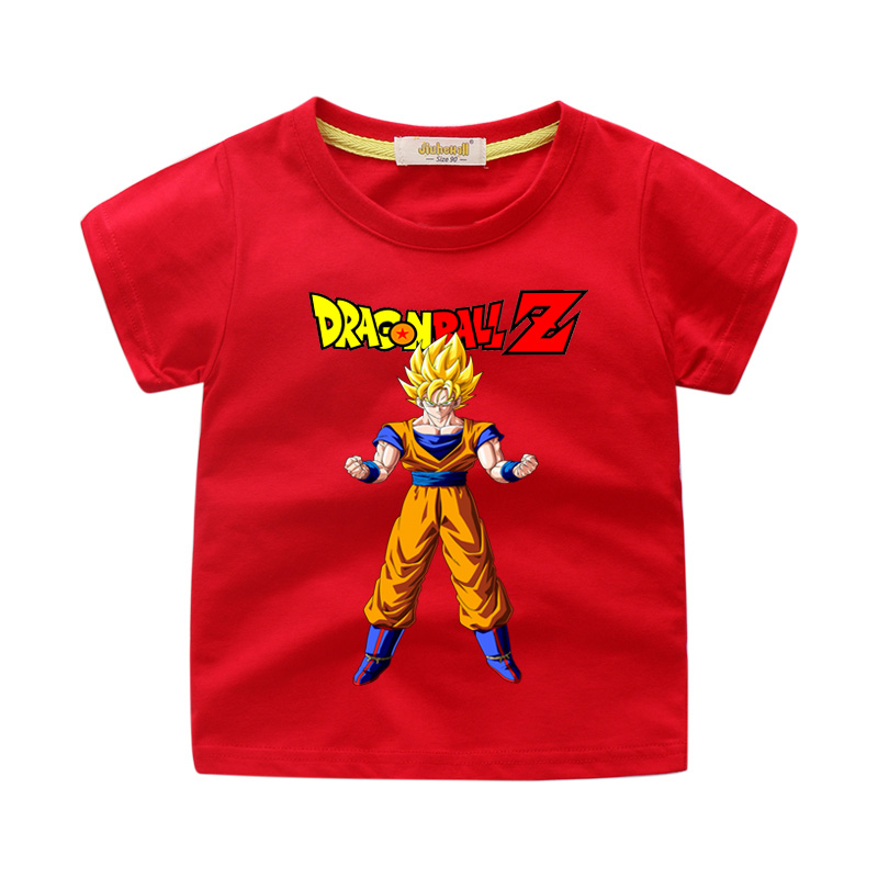 Children Summer Clothes T-shirts Boy Cartoon Dragon Ball Print Tshirts Girls White Casual O-Neck Tee Tops Kids Clothes WJ219(China)