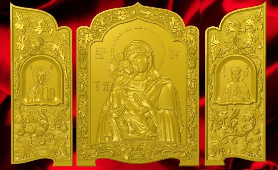 Exclusive 3d model relief  for cnc in STL file format Iconostas_1 icon of the mother of god undying color 3d model relief figure stl format religion 3d model relief for cnc in stl file format