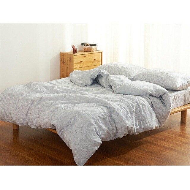 simple lattice minimalist japanese style pure cotton double queen king size bed sheet pillowcase quilt duvet