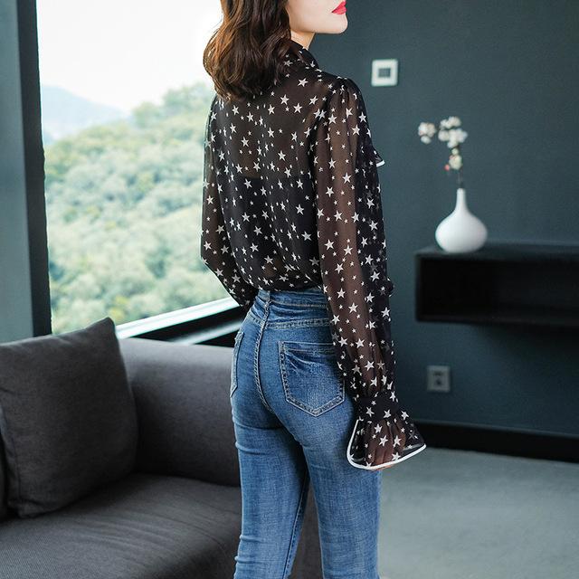 100% camisa blusa de seda 2019 camisa Sexy de primavera y verano para mujer cuello vuelto estampado de estrellas camisa de manga larga con volantes damas Casual Top