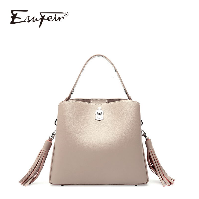ESUFEIR Genuine Leather Women Shoulder Bag European And American Fashion Crossbody Bag Wide Shoulder Strap Tassel Women Handbag