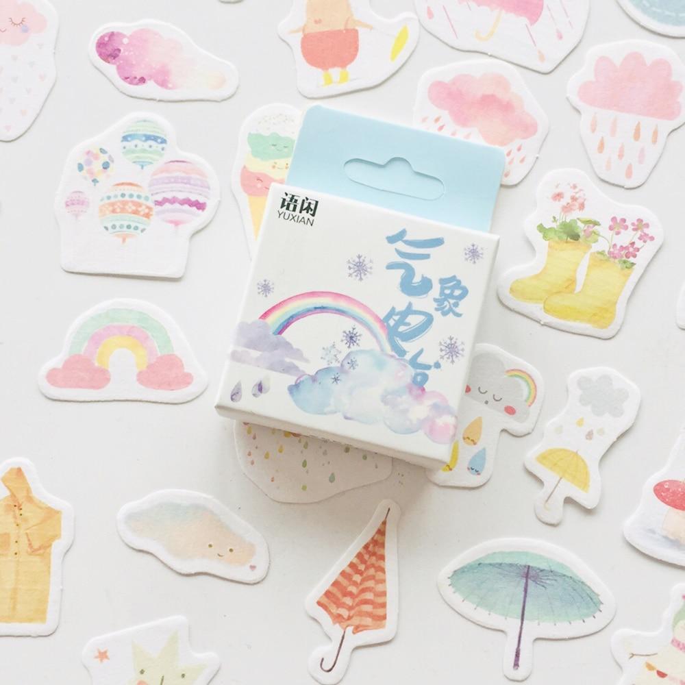 1 Box Rainbow Weather Station DIY Decorative Stickers Phone Bottle Decor Label Stickers