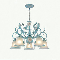 Mediterranean Nordic Style Blue Iron Leaf Post Modern LED Pendant Lamp Home Lighting Fixtures China Decor For Living Dining Room