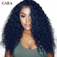 13x6 Curly Lace Front Human Hair Wigs For Women 250 Density Lace Front Wig Pre Plucked Deep Part Brazilian Wig Black Remy CARA