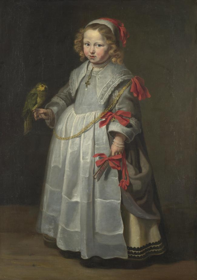 wholesale painting # TOP classical art work Netherlandish Portrait of a Girl with a Parrot replica print oil painting ON canvas