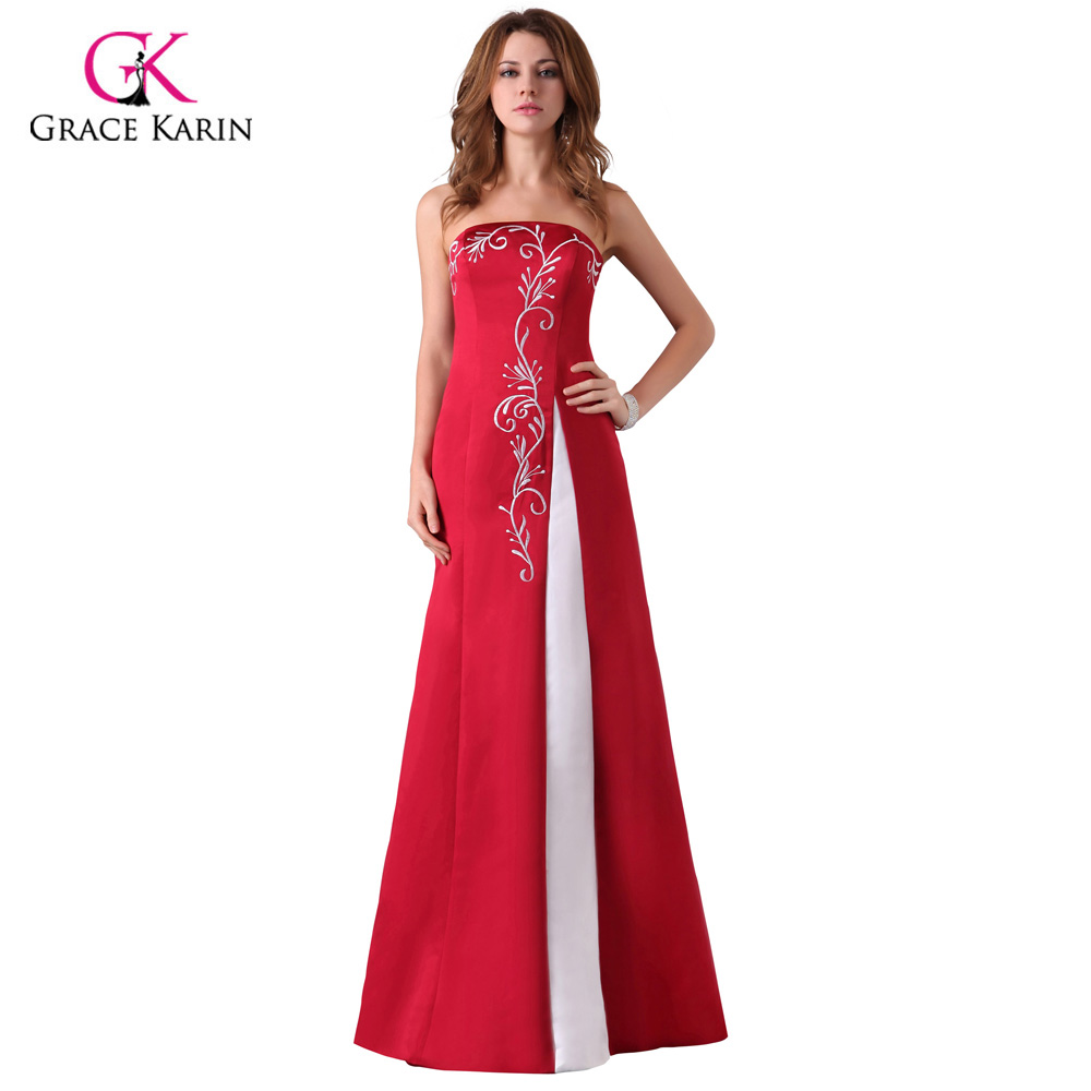 Cheap Long Red Evening Dresses Grace Karin Satin Abendkleider 2018