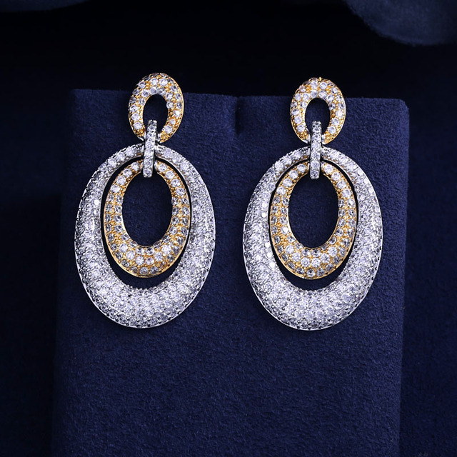 ed3e68a61 JaneKelly 2 tone plated jewelry accessories brincos long big wedding drop  earring for women online shopping India Nigeria bijoux