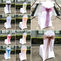 25Pcs Lot Party Chair Sashes Bow Organza 18cm 275cm Chair Sash For Wedding Banquet Decoration 20