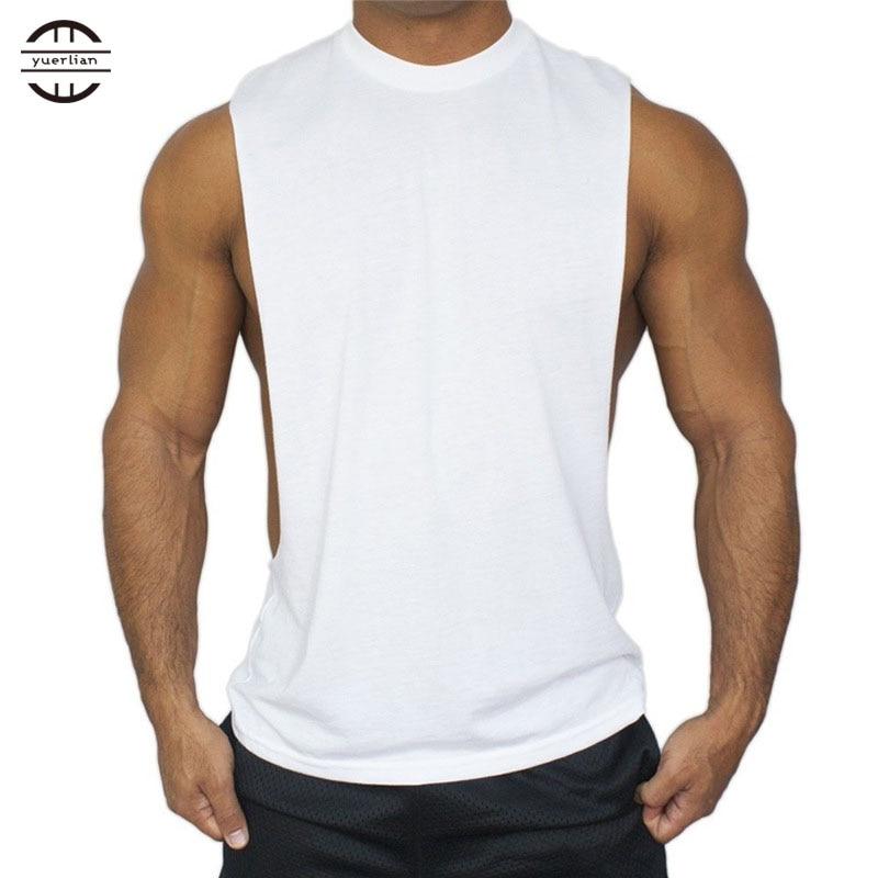 Yuerlian Cotton Solid Coletes Fitness Training Shirts Gym Bodybuilding T-Shirt Basketball Tank Top Yoga Sports Men Running Vest