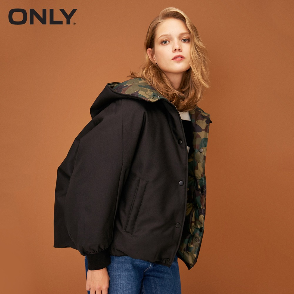 ONLY  Womens' Winter New Two-sided Wear Hooded Down Jacket Two-sided Design Invisible Button Placket|118323529
