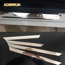AOSRRUN нержавеющая сталь порога Накладка автомобильные аксессуары для Skoda Rapid 2012 2013 2014 двери greeter педаль 4/шт крышка