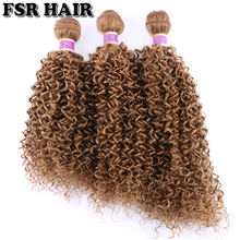 Hair-Weave Synthetic-Hair-Bundle Afro Kinky Curly Ombre Women for 3pcs/Lot Golden-Color