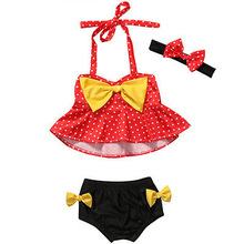 2017 Summer Kid Baby Girls 1-4Y Tankini Bikini Set Swimwear Dot Print Bow Swimsuit Bathing Suit Beachwear+Headband 3pcs