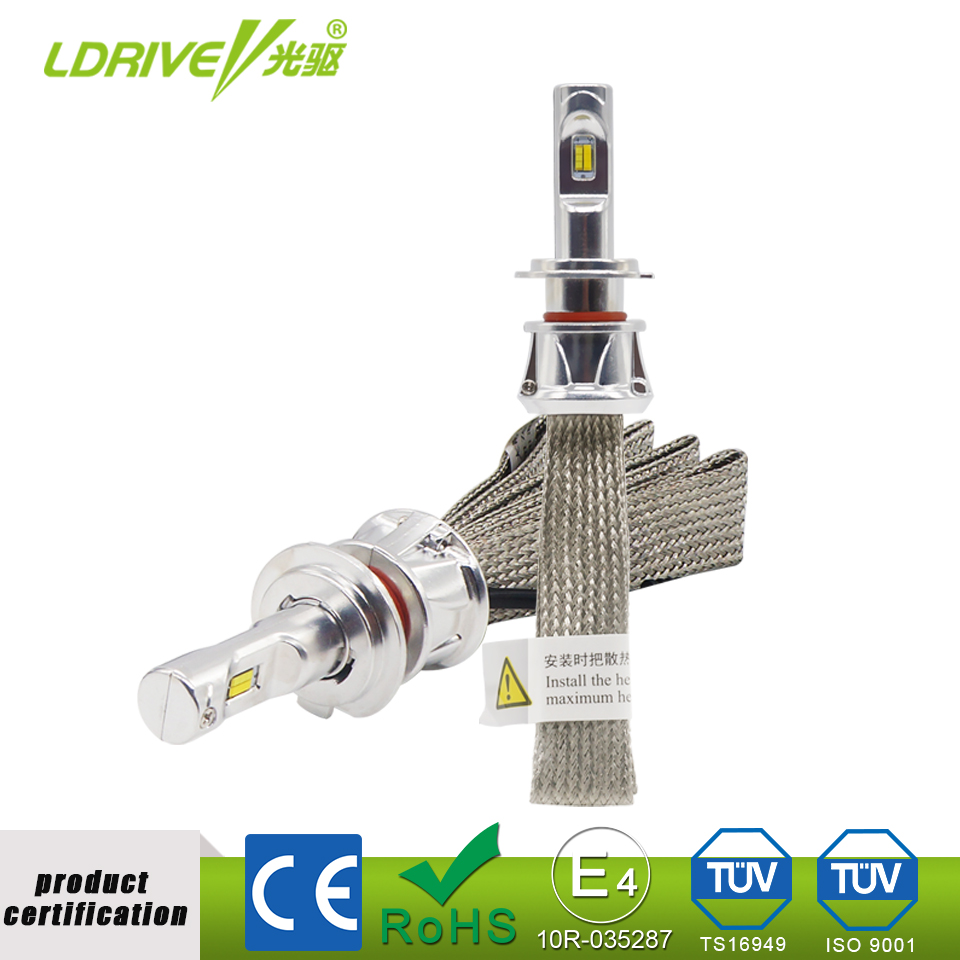 LDRIVE 3000K 4300K 6000K Tri-color Free Switching Car Headlight H7 48W 4800LM LED Bulb H11 H8 H9 HB3 HB4 9005 9006 Fog Light 12V kinklight 08219b 01 3000k 6000k