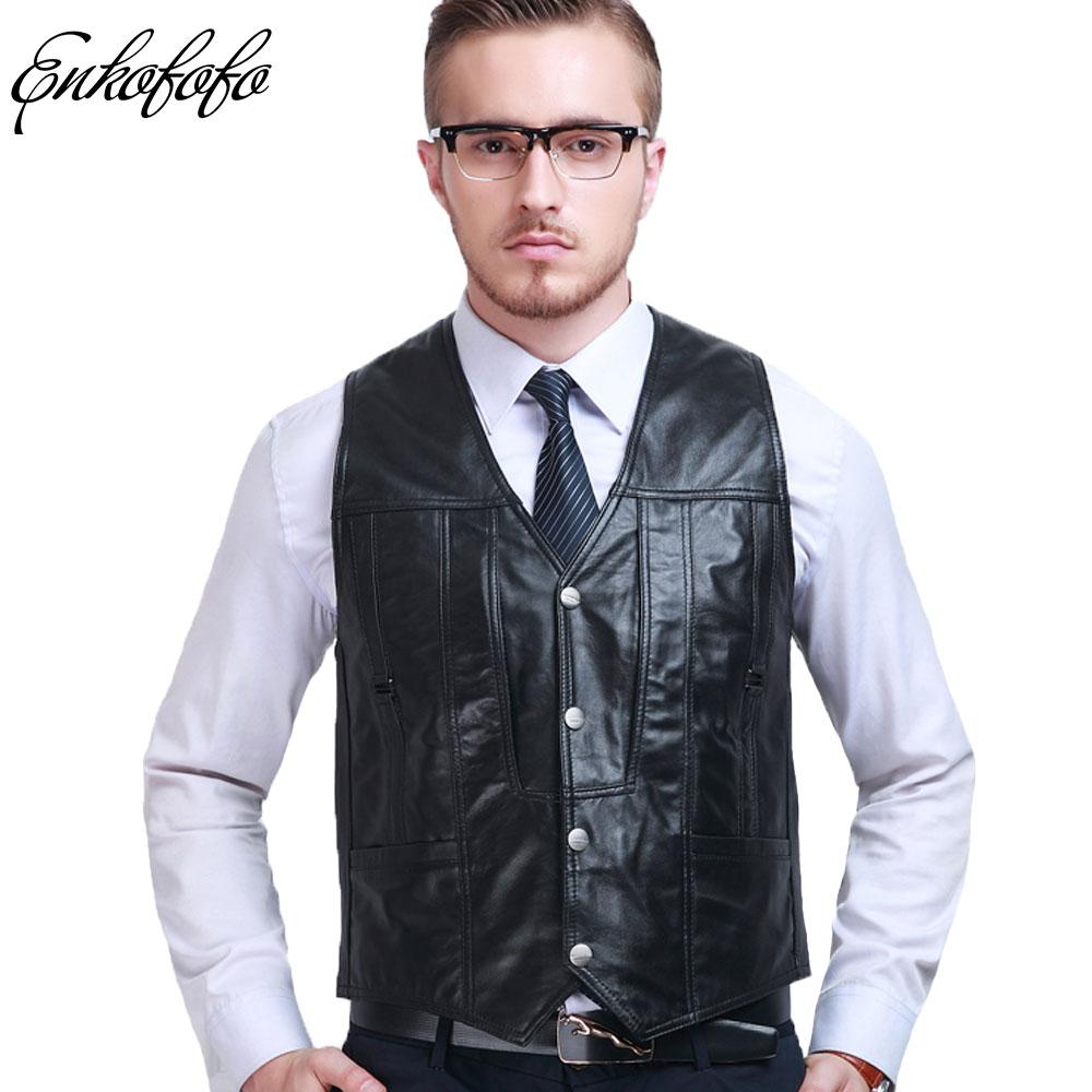 Vest Coat Sheepskin Leather Fall Black Spring Short Fur Slim L-6xl Gentleman Men