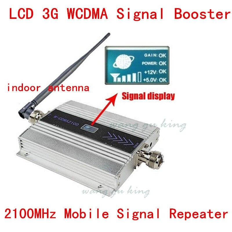 Cellulaire téléphone wcdma 2100 mhz 3g signal booster avec écran lcd 3g répéteur de signal amplificateur avec antenne intérieure