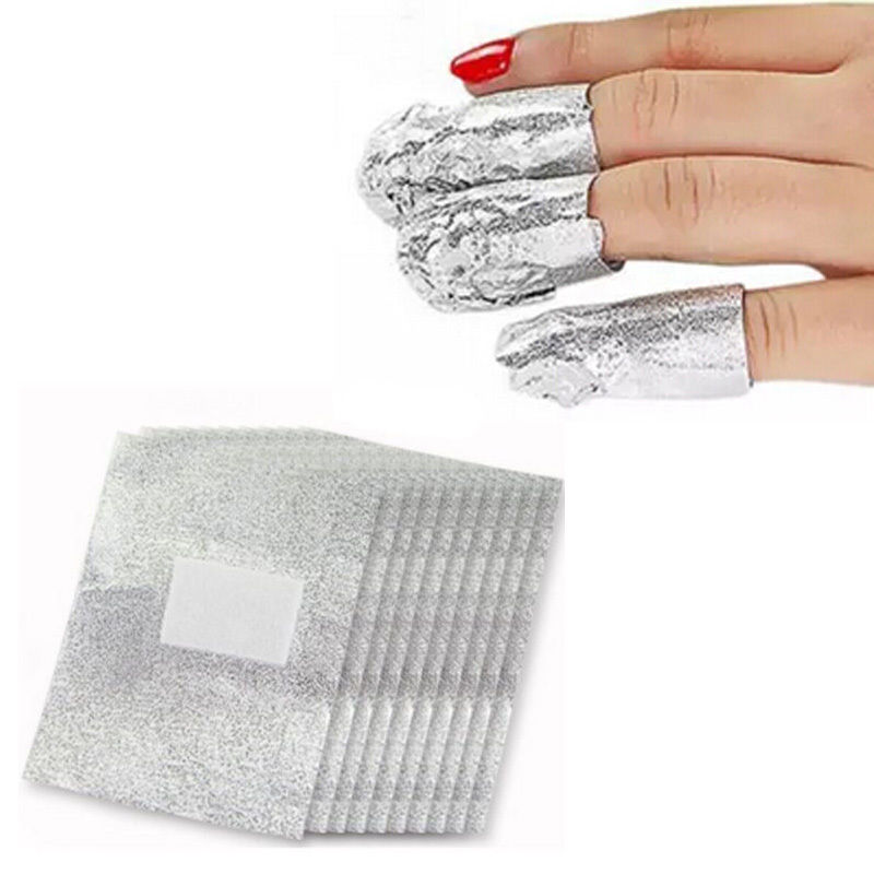 100pcs Foil Nail Art Soak Off Acrylic Gel Polish Nail Wraps Remover Clean Aluminum