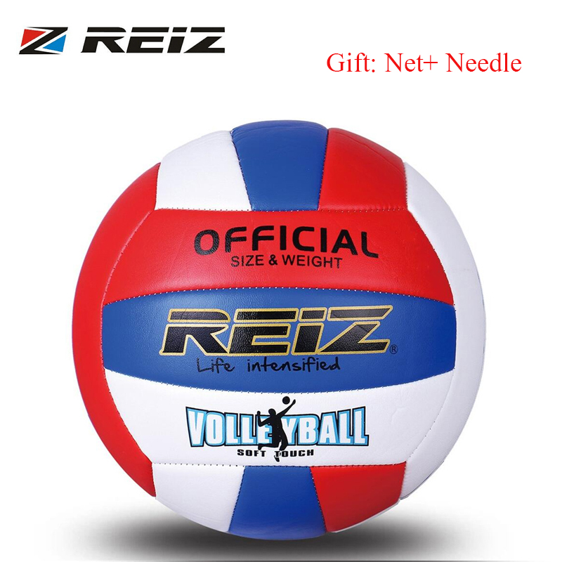 REIZ Professional Soft PU Volleyball Ball Competition Training Ball Men Women Official Size Weight Soft Touch Volleyball Ball
