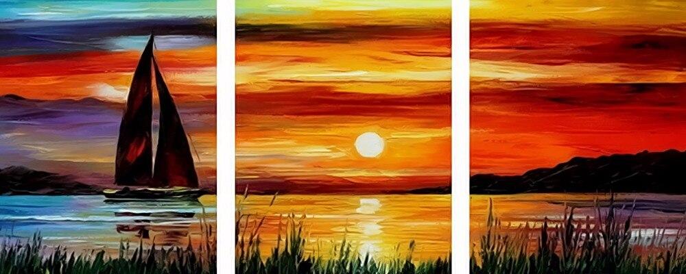 3 pezzo Frameless Immagine Sulla Parete Acrilico Su Tela A Olio By Numbers Decorazione Domestica Disegno A Mano da Numeri Tramonto Mare barca