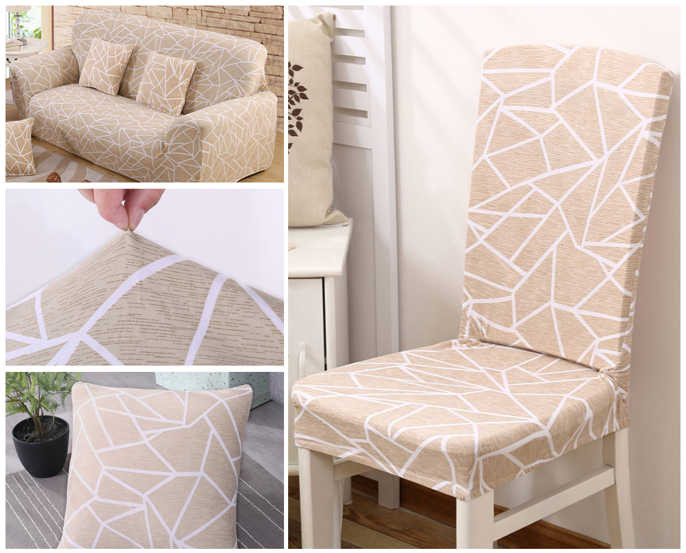 1246PCS Geometry Spandex Chair Cover Dining Washable slipcover for seat Elastic Kitchen Chair Covers Stretch Furniture Covers (4)