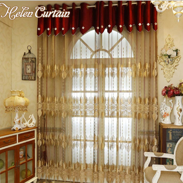 US $33.16 5% OFF|Europe Style Embroidered Splice Gold Curtains For Living  Room Finished Luxury Curtain for Bedroom Sheer Voile Screening S04-in ...