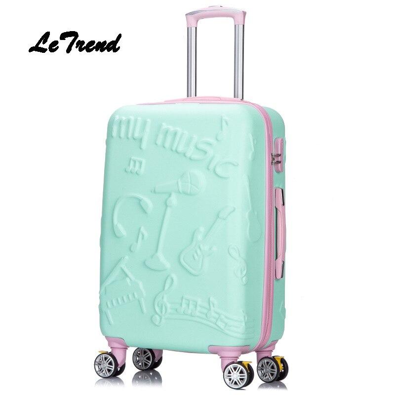 Letrend, 3D, красочные, на колёсиках, для женщин, розовое золото, чемоданы, колеса, для каюты, тележка, дорожная сумка, 20/24 дюймов, для переноски, для...
