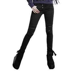 Gothic Black Do Old Denim Bony Vintage Skinny Women Jeans Punk Winter Cotton Slacks Zip Fold High Elasticity Low Waist Pants