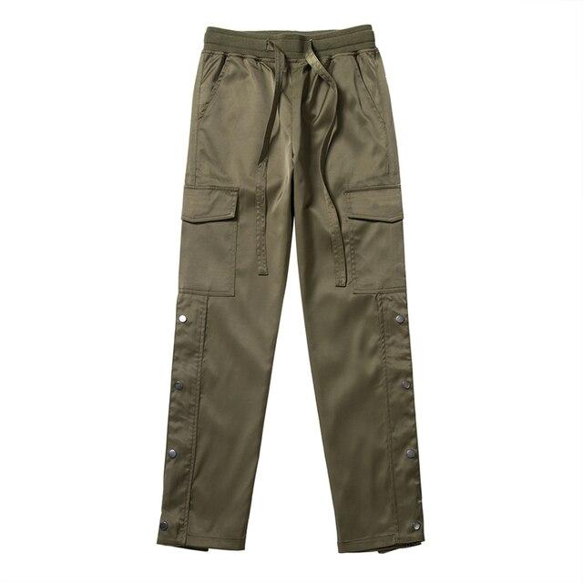 Nylon Snap Cargo Pants Men's Kanye West Streetwear Hip Hop Biker SweatPants for Men Straps Buttons Velcro Strap Closure Trousers 5